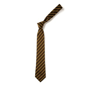 Thin Stripe Tie - Brown & Gold