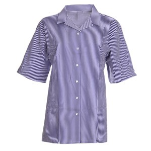 Blouses - Non Iron - Striped - Short Sleeve Revere Collar - Twin Pack
