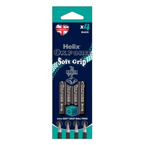 Helix Oxford Soft Grip Pen – Black Ink (Pack of 4)