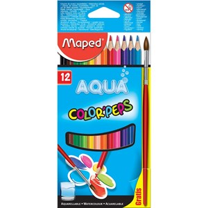 Color Peps Aqua Water Colour Pencils x 12 + Paintbrush