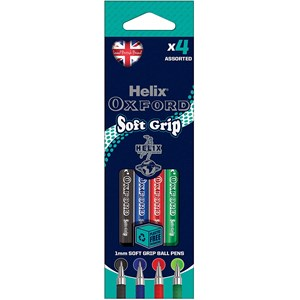 Helix Oxford Soft Grip Pen – Assorted Colours (Pack of 4)