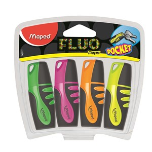 Fluo Peps Highlighter 4 Piece Pack Pocket Size