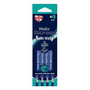 Helix Oxford Soft Grip Pen – Blue Ink (Pack of 4)