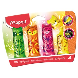 Maped Mini Friends Animal Highlighters - Assorted Colours (Pack of 4)