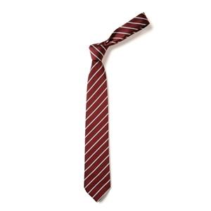 Thin Stripe Tie - Maroon & White