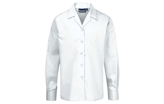 4df77484b7fc31 Blouses - Non Iron - Long Sleeve Revere Collar - Twin Pack | School ...