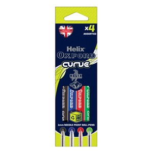 Helix Oxford Curve Pens - Assorted Colours (4 Pack)