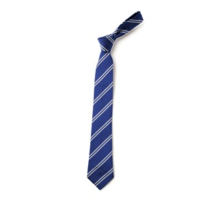 Double Stripe Tie - Royal & White