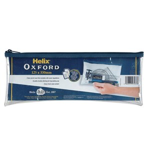 Helix Oxford 125 x 330mm Clear Pencil Case