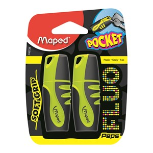 Flou Peps Highlighter Yellow Twin Pack Pocket Size